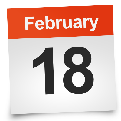 Image showing calendar of February 18