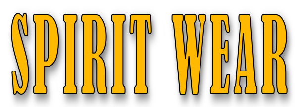 "Graphic saying ""Spirit Wear"" in gold"