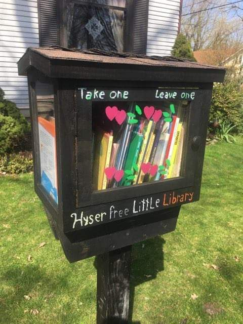 Free library book box.