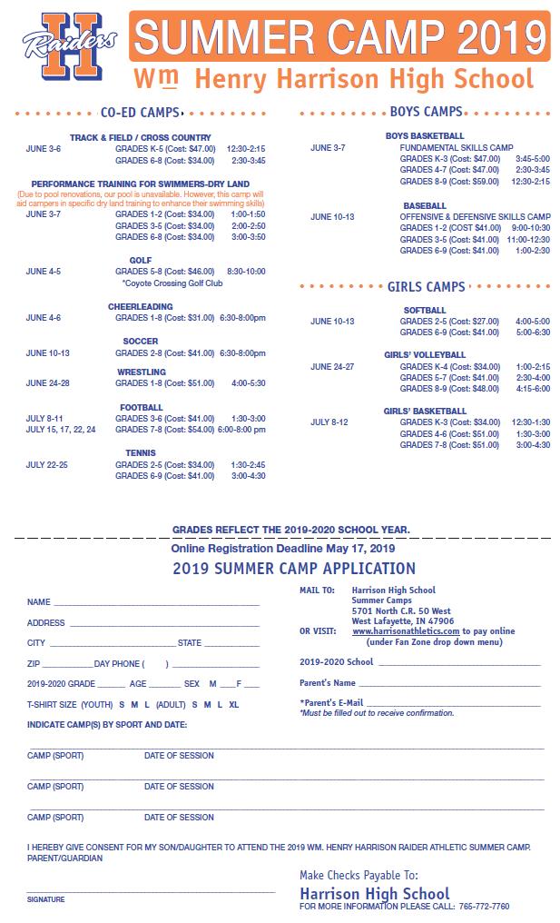 Summer Camp for Harrison High School sign up form