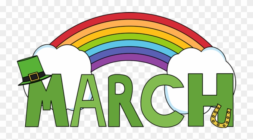 MARCH with rainbow, and green hat