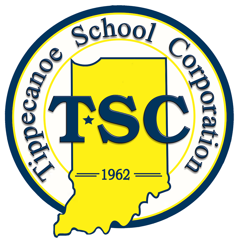 TSC Official Logo: State of Indiana with 1962 written across bottom third. TSC across the mid section of Indiana from left to right in large Blue letters. A STAR indicating location of Tippecanoe County. Tippecanoe School Corporation written in circular fashion around the inner portion of the circle that houses the majority of the state of Indiana and completes the logo.