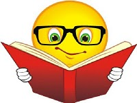 smiley face reading a book