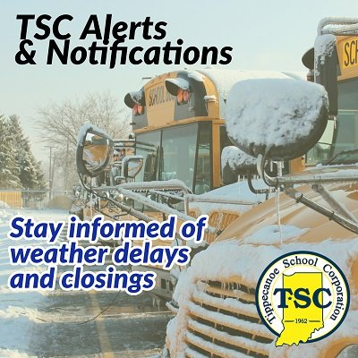 TSC Alerts and Notifications logo with 2 school buses