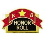 "Banner with an ""A"", star and ""B"".  The phrase ""Honor Roll"" below."