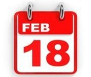 red and white calendar with the date February 18
