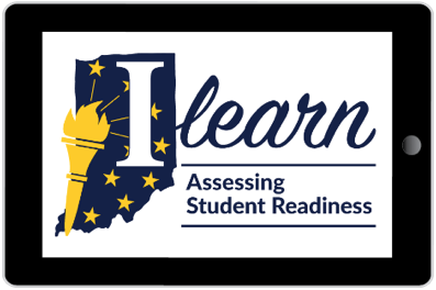 "Graphic for the state assessment ILEARN of the state of Indiana in blue with the torch and stars in yellow across it. A big I from the word ILearn is on the Indiana as well. Underneath are the words: ""Assessing Students Readiness"""