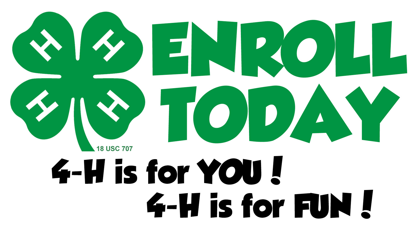 Green 4H clover logo with the words Enroll Today in Green.