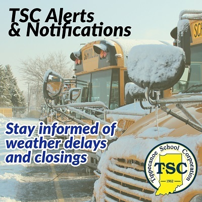 TSC Alerts and Notifciations: Stay informed of weather and delays with a picture of school buses with snow on them in the background.