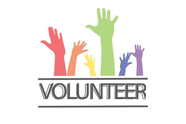 Volunteer with hands
