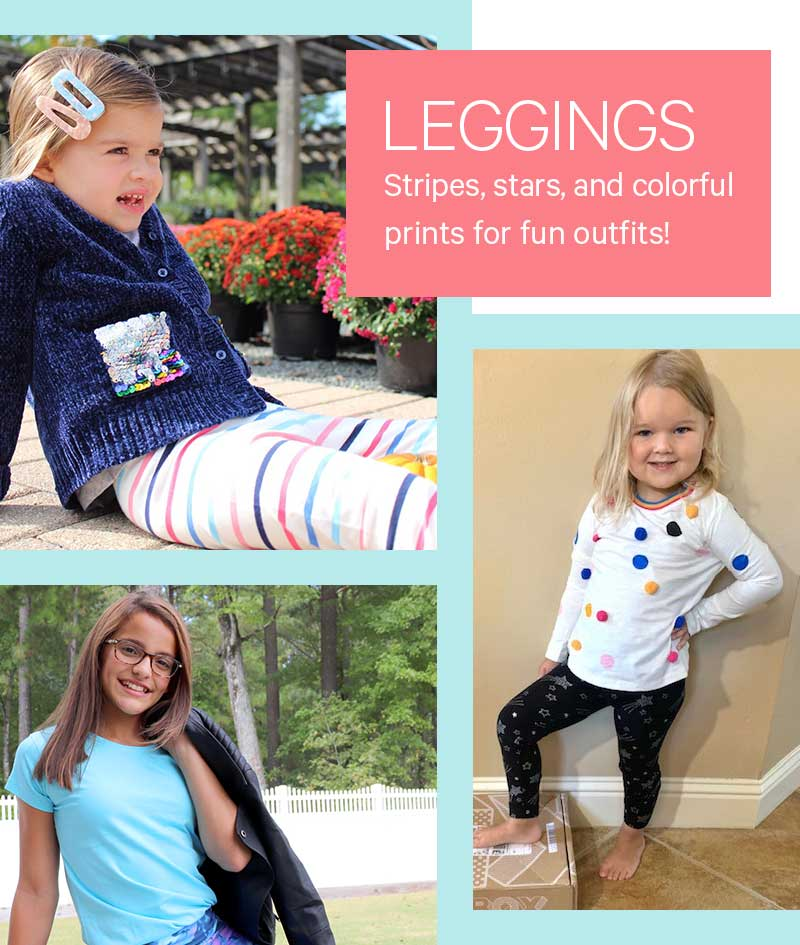 Leggings: Stripes, stars, and colorful prints for fun outfits!