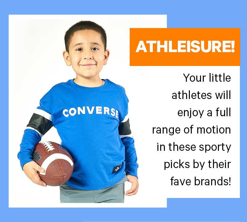 ATHLEISURE! Your little athletes will enjoy a full range of motion in these sporty picks by their fave brands!