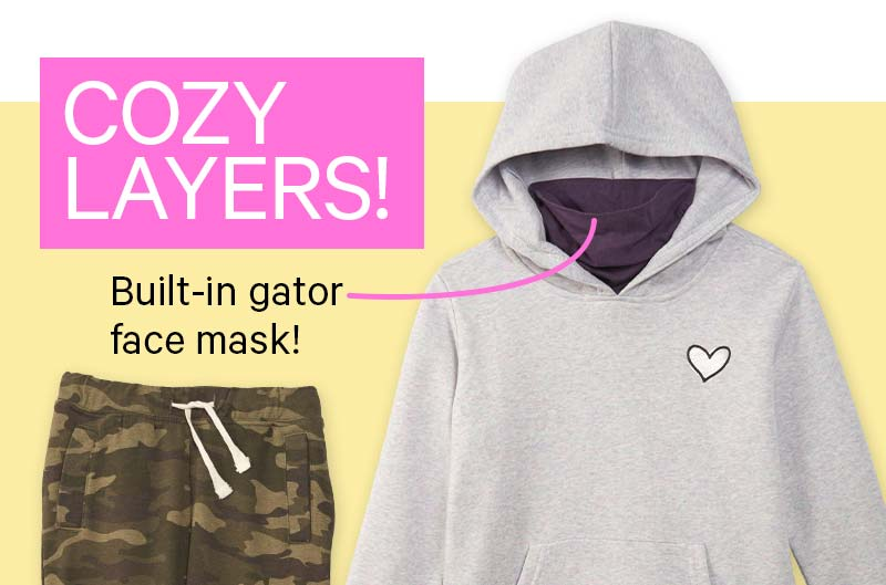 COZY LAYERS! Built-in gator face mask!