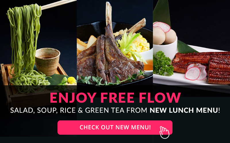 Free Flow Salad, Soup, Riee and Green Tea