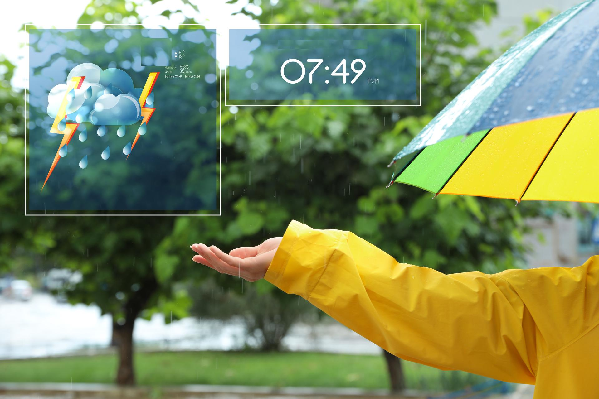 checking the weather: umbrella and hand catching the raindrops