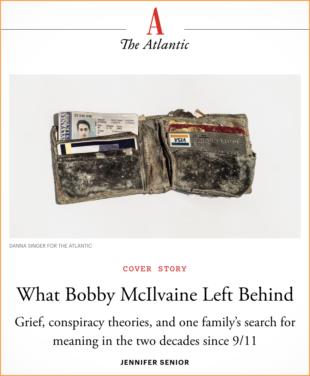 'The Atlantic' does story on Bob McIlvaine!