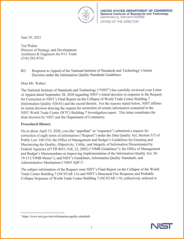 NIST issues blatantly unresponsive — and unlawful — decision on WTC 7 request