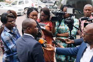 Mr. Cherif Alimasi Bilubi, Deputy Director of Cabinet in the Ministry of Agriculture in DRC responding to questions from media during TASAI meeting in Kinshasa