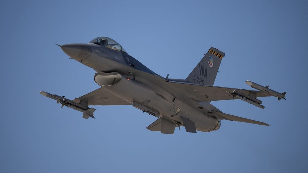 fighter jet takes off from an Air Force base in Nevada