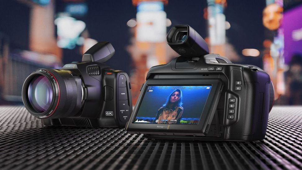 Blackmagic 6K Pro camera with angled viewfinder