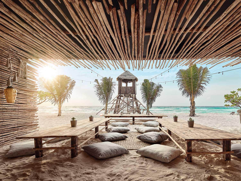 An island beach resort lounge area.