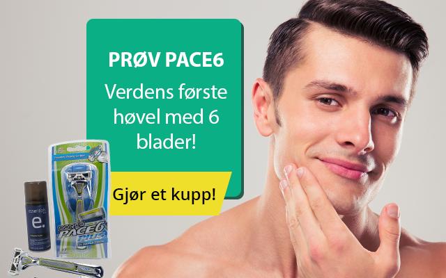 Gratis Pace6 Plus barberhøvel og skum levert hjem
