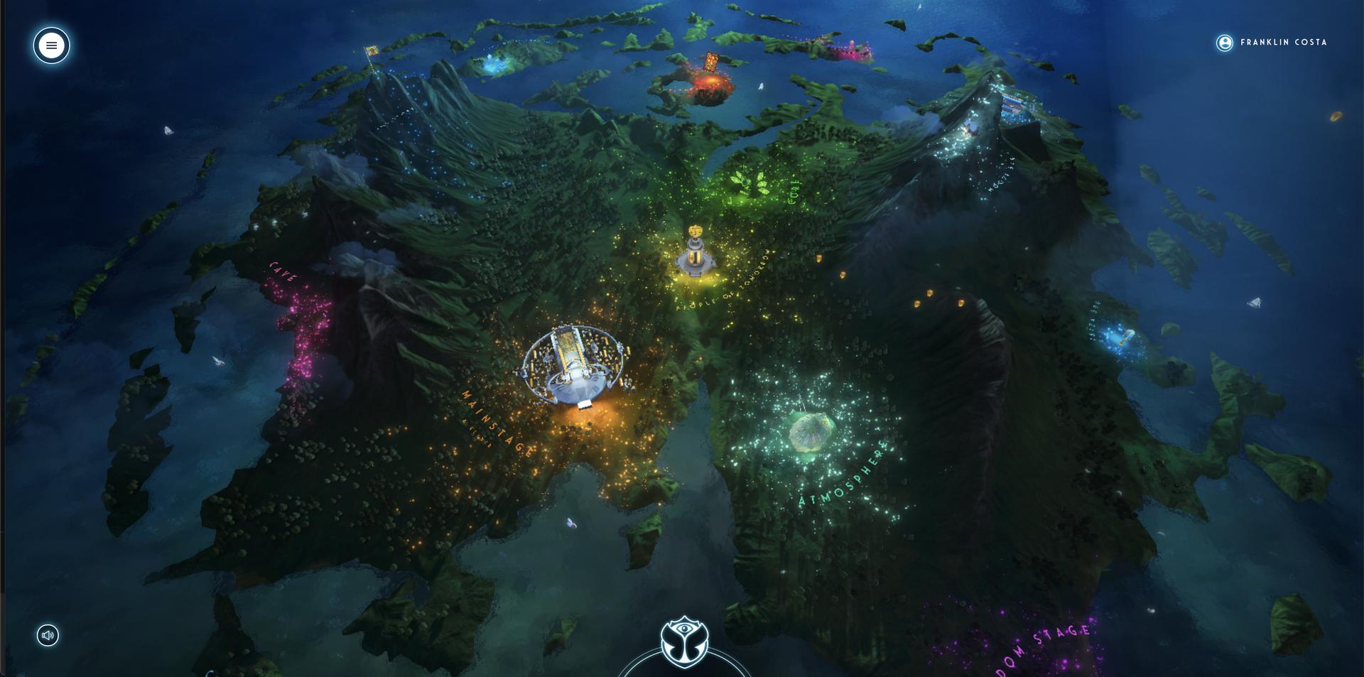 Pela noite, a ilha mágica do Tomorrowland era ainda mais bonita