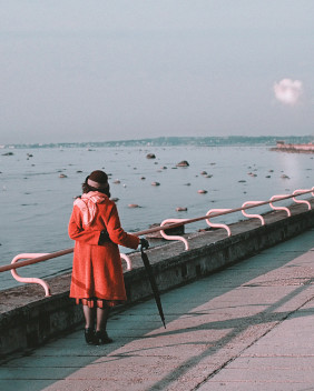 Women in red looking out over the