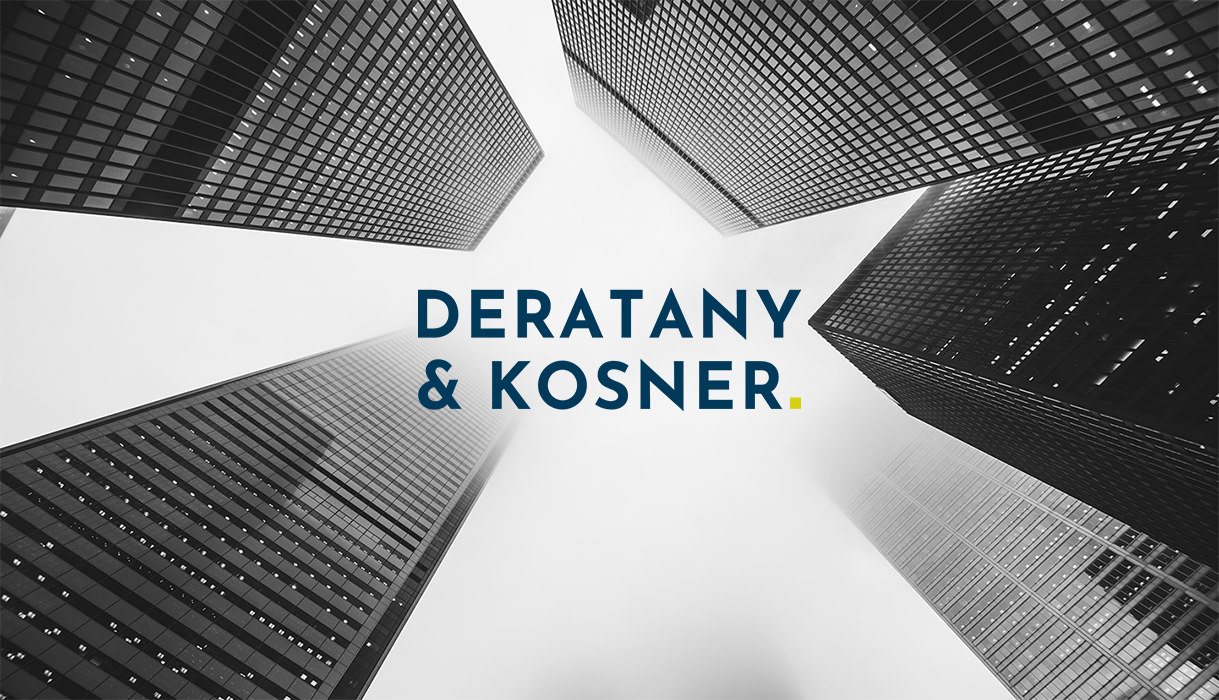 Deratany & Kosner logo on top of a black and white shot of a skyline