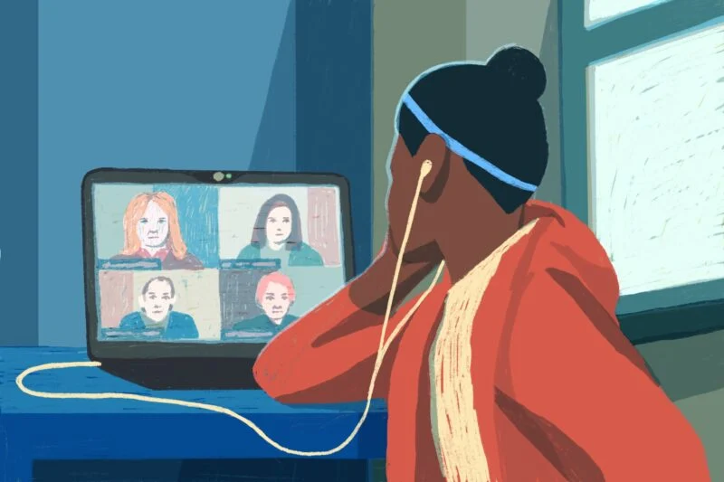 Illustration of a Black girl wearing headphones on Zoom with 4 people