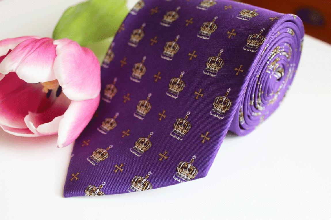 Fox & Chave crown on purple woven silk tie