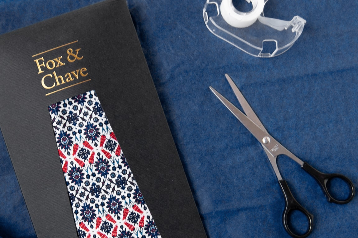 A Fox & Chave silk tie and tie envelope
