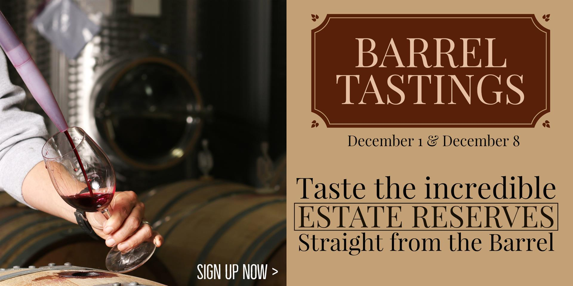 December Barrel Tastings open to the public NOW!