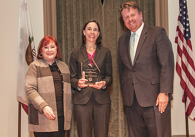 Kroc Peace School Dean, Dr. Patricia Marquez, receives the Rotary Pathways to Peace Award.