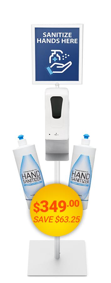 Freestanding Sanitizer Station Bundle with Sign & Holder