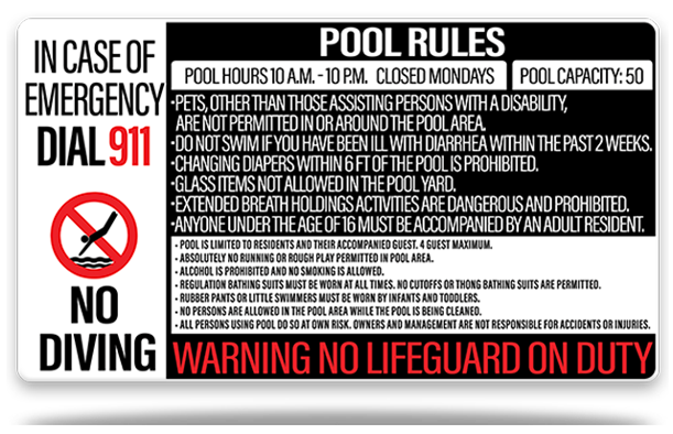 Pool Rules All in One Sign 2