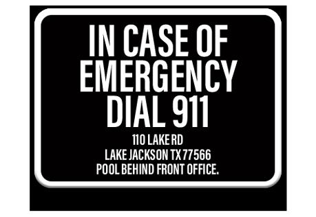 Pool Emergency Dial 911 Sign 1