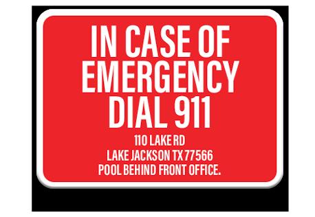 Pool Emergency Dial 911 Sign 2
