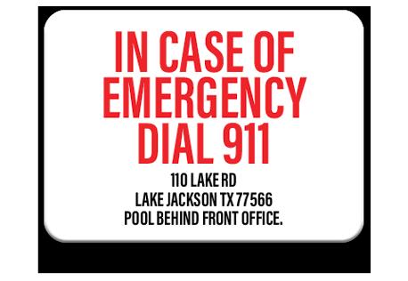 Pool Emergency Dial 911 Sign 3