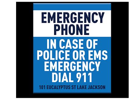 Pool Sign Emergency Phone 911