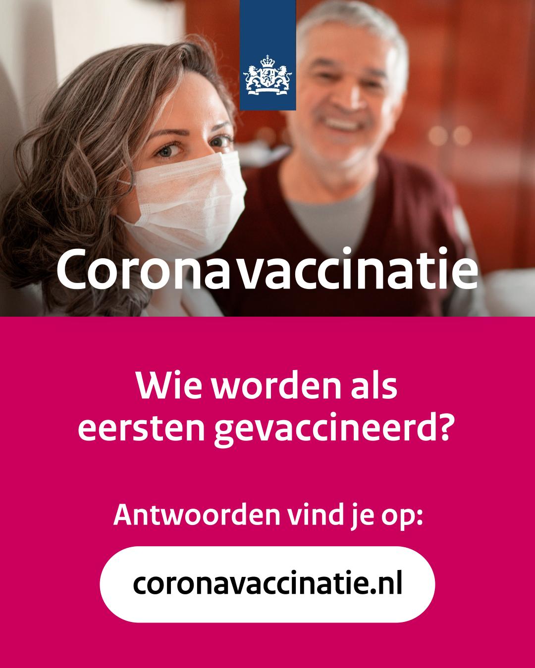 Social post  'Wie worden als eersten gevaccineerd?'