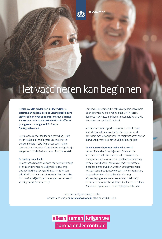 Advertentie 'Het vaccineren kan beginnen'