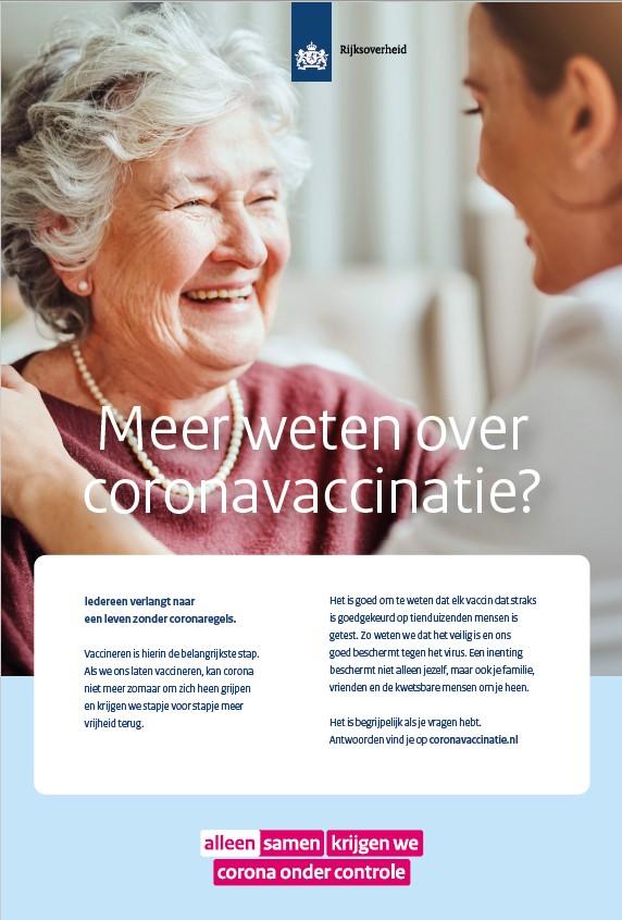Advertentie 'Meer weten over coronavaccinatie?'