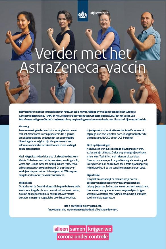 Advertentie 'Verder met het AstraZeneca-vaccin'