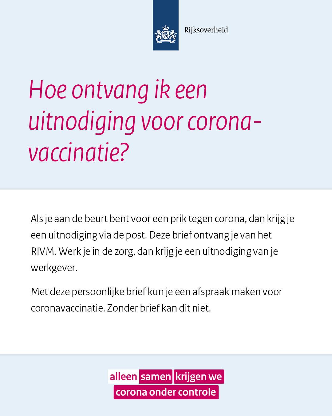 Social post 'Hoe ontvang ik een uitnodiging voor coronavaccinatie'