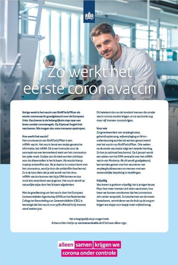Advertentie 'Zo werkt het eerste coronavaccin'