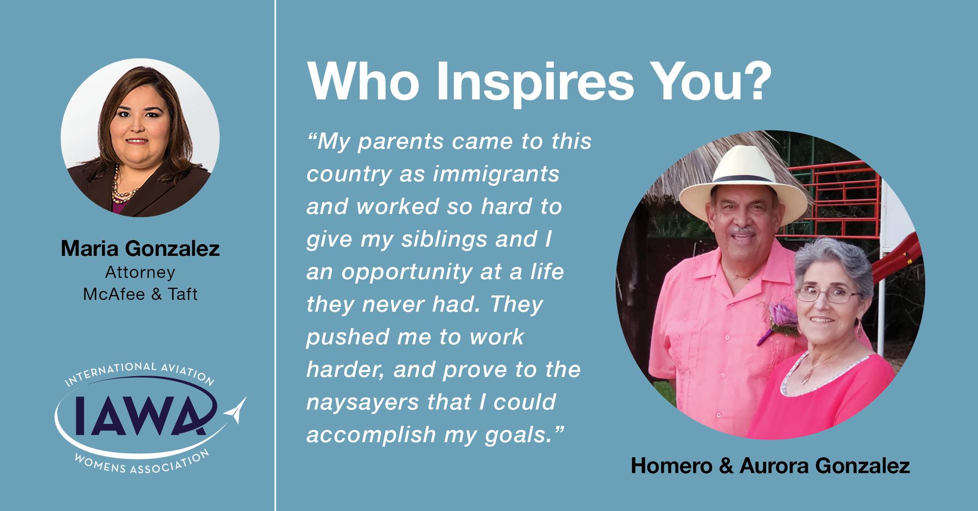 Maria Gonzalez finds inspiration in her parents.