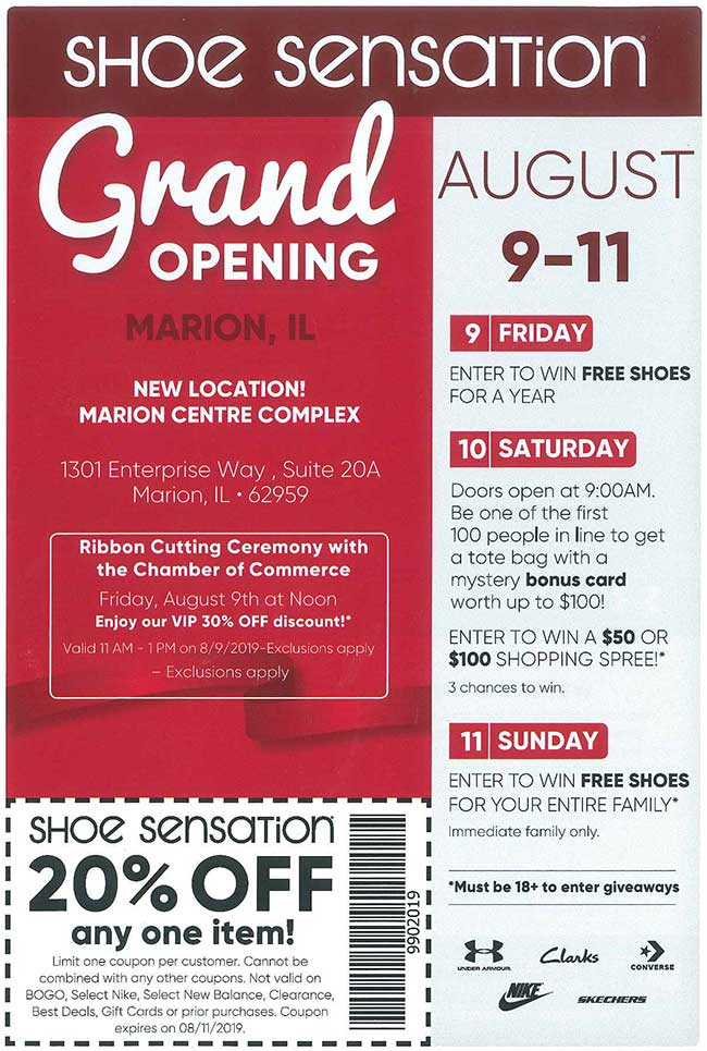 image regarding Shoe Sensation Coupons Printable referred to as Calendar of Activities - Marion Chamber of Commerce