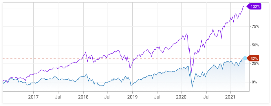 5 year performance compare index