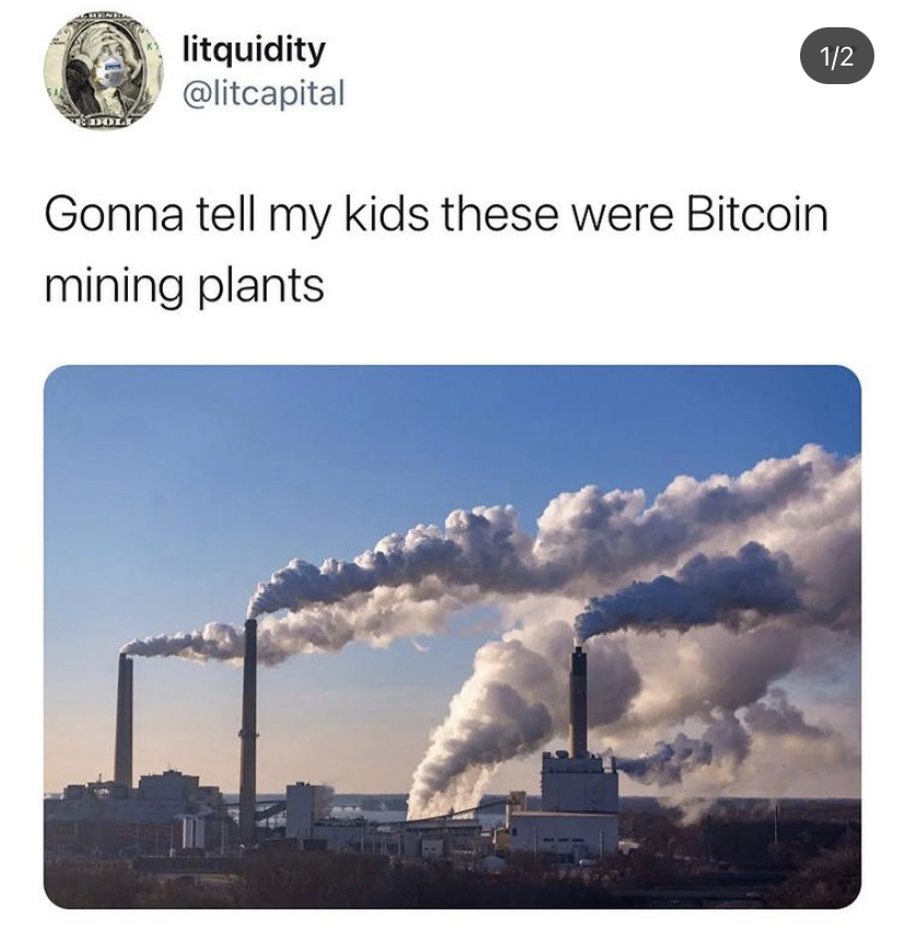 Tweet of litquidity about Bitcoin mining plants